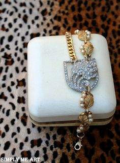 Vintage Art Deco Rhinestone Brass and Pearl One of by simplymeart, $73.00