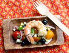 Corn and Blueberry Salad with Grilled Shrimp