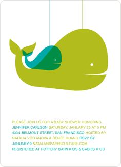 Whale shower invitation