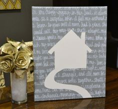 House silhouette with song lyrics behind