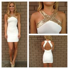 Gold Sequin Cross Over Open Back Dress - White