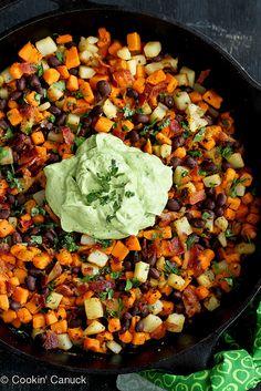 Sweet Potato Hash Recipe with Creamy California Avocado Sauce | cookincanuck.com #breakfast #avocado #sweetpotato by CookinCanuck, via Flick...