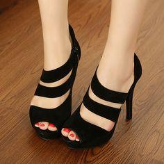 Sexy Round Peep Toe Stiletto High Heels Black Suede Ankle Wrap Pumps