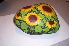 Hand Painted Rocks Flowers | These Assorted Flower's are painted on special rocks of a larger size.
