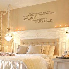 small romantic bedroom, fairytale bedrooms, romantic bedrooms, bedroom quote wall love, decorate quotes bedroom, bedroom walls, wall quotes, vinyl wall decals, fairytale bedroom decor