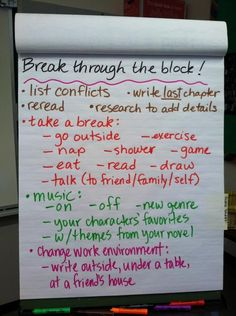 Advice to beat writer's block from my 8th grade WriMos. #NaNoWriMo2014