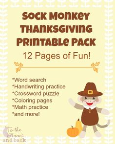 12 Page FREE Sock Monkey Thanksgiving themed printable pack