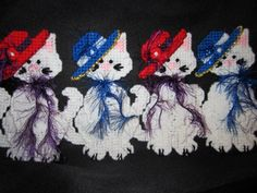 Red Hat and Blue Hat Cat Ornaments