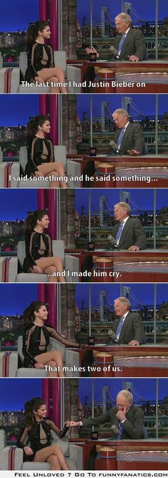 Letterman and Selena Gomez discuss Bieber