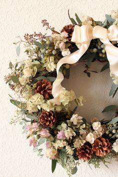 Floral Wreath, creams and pine cones