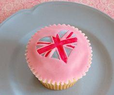 Pink union jack cupcakes