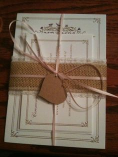 burlap and lace ribbon. yes please!