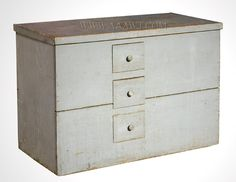 Grain Chest with Drawers, Original Blue Gray Paint Western, New York 19th Century - retrofitted with drawers, creating two sections AAAWT: 431-68