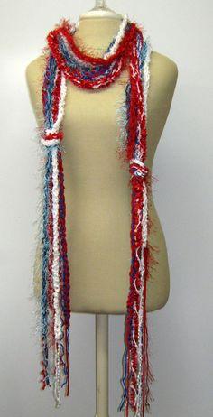 Red White Blue Braids Fringe Scarf skinny by PurpleSageDesignz, $ 20.00