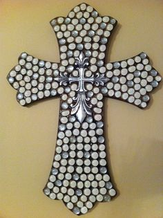 White and Silver Cross made from Glass Gems