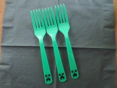 Minecraft Party- bought green forks & drew the creeper face on them with a Sharpie