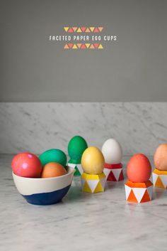 Faceted Paper Egg Cups DIY   Oh Happy Day!