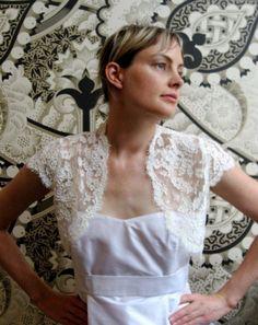 Alencon lace bridal shrug ivory by englishdept on Etsy, $350.00