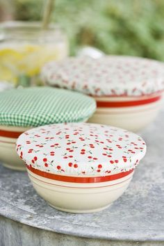 DIY bowl covers - wash, recycle, reuse! Save on plastic wrap/foil. GENIUS :)