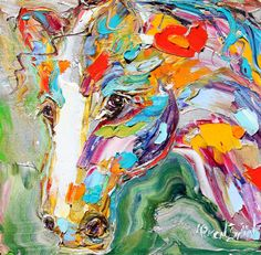 Original Equine Portrait of a Horse abstract by Karensfineart