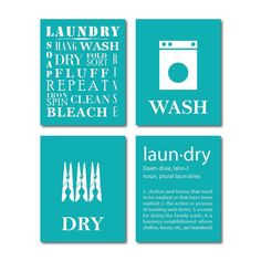 Laundry Room Art  Wall Art Quad  Four 8 x by SusanNewberryDesigns, $40.00 (But in red)