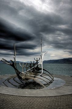 to be a viking.   Reykjavik harbour, Iceland.