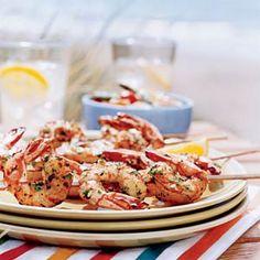 Shrimp Recipes Under 200 Calories  | Lemon-Garlic Shrimp Skewers | MyRecipes.com