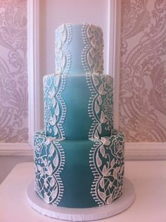 French Lace Piping on Mint Colored Fondant Cake pipe cake, lace cakes, cake wedding, mint color, wedding cakes, blue cakes, blue weddings, fondant cakes