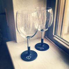 I bought these IKEA wine glasses awhile ago and finally figured out what to do with them. Chalkboard paint!, via Flickr.