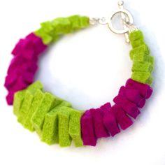 """1/4"""" thick felt squares... transformed into a bracelet"""