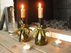 Gold and Green Holiday Wine Bottle Candle Holder by hauterubbish
