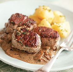 Quick and easy #pork medallions in #mushroom sauce will soon be a family favorite.