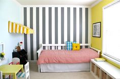 Home Improvement: Everything you need to know about painting walls, Vertical Stripes, Paint tools, and a little Crown Molding | MADE