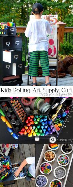 Kids Art Supply Cart - Rolling Storage Activity Cart #michaelsmakers #homeschool #craftstorage @michaelsstores
