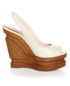 Jessica Simpson Alexy Ivory Slingback Sculpted Platform Wedges - Worthy enough for a mouthful name: It's an artpiece!
