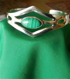 Hallmarked #Taxco #Sterling Silver Cuff #Bracelet with #Malachite Gemstone by @Anna Garner #craftsofthepast #Jewelry on #ArtFire