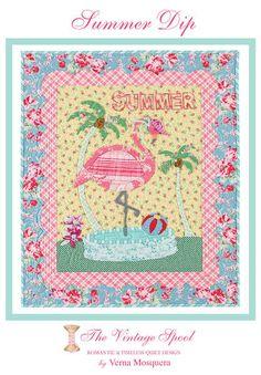 PATTERN SUMMER DIP Flamingo Quilt Applique by DorothyPrudieFabrics.