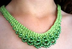 Love this! Beads crocheted into a necklace! Very clever and chic!
