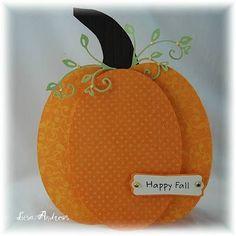 DIY Pumpkin card by Lisa Andrews...it holds a sweet treat inside! Very cute w/ tutorial easels, paper, sweet treats, fall cards, candies, boxes, pumpkins, fall treats, halloween