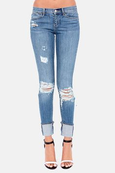 cuffed and distressed skinny jeans