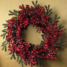 christmas wreaths, old houses, chili peppers