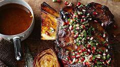 Slow-cooked shoulder of lamb, and eggplant & pomegranate rolls