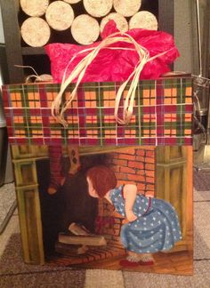 winter decorative bag hand painted Wood fire place with girl.