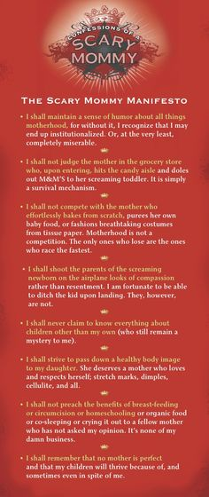 The Scary Mommy Manifesto. A must read.  If we could all treat this as a list of rules and enforce it now.