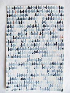 wall art, winter, watercolor paintings, thumb prints, pattern, blue, rain drops, paint samples, rain rain