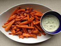 Baked parmesan carrot fries with chilled cilantro dipping sauce