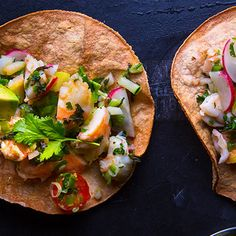 Shrimp tostadas recipe, from Chef Drew Deckman of Deckman's en el Mogor in Valle de Guadalupe, Mexico - 20 mins. prep time (+marinating) and 20 mins. cook time; yields 4 servings