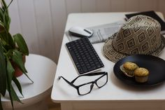 Wedge Mobile Keyboard, your glasses, and some muffins. Perfect items for checking email in the morning before you head into work.