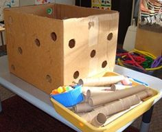 Holes in a cardboard box & providing items such as large pom-poms & cardboard tubes, to see what happens