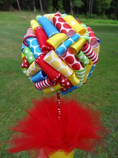 Ribbon Topiary in Thomas the Train Primary Colors Red, Blue, Yellow, Green Birthday Party/Baby Shower Centerpiece, Decoration: Small Size. $20.00, via Etsy.